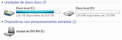 [Ayuda] Instale Windows 7, solo tengo 1gb disponible.